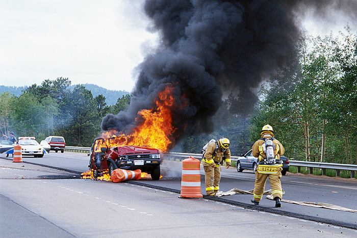 fire, crash, flames, vehicle, firefighter photo