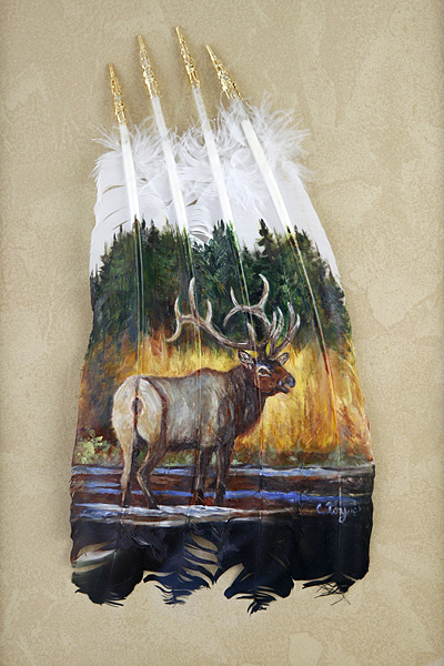 elk, wapiti, Carlene Toy, painting, feathers photo