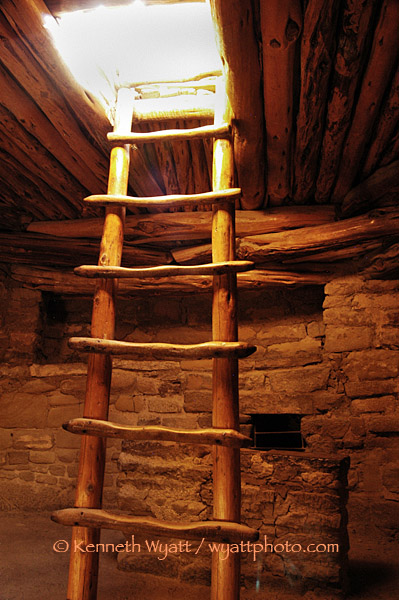 Mease Verde, Colorado, kiva, ladder, Puebloan photo