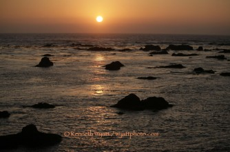 sunset, rocks, beach, California