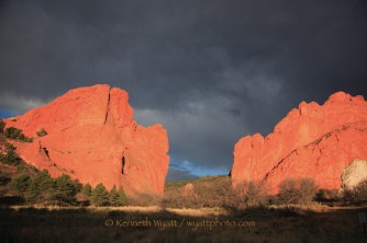 Garden of the Gods, Colorado Springs, Gateway Rocks, storm