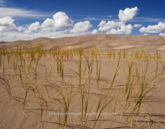 sand dunes, sand, grass, clouds, Great Sand Dunes, Colorado