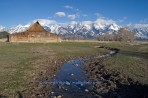 Grand Tetons, tetons, creek, barn, mountains, Wyoming