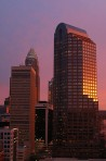 Charlotte, building, skyline, sunset, sunrise